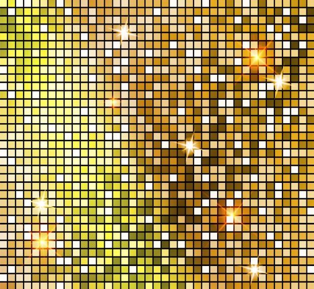 Mosaico dorado brillante en estilo bola de discoteca.