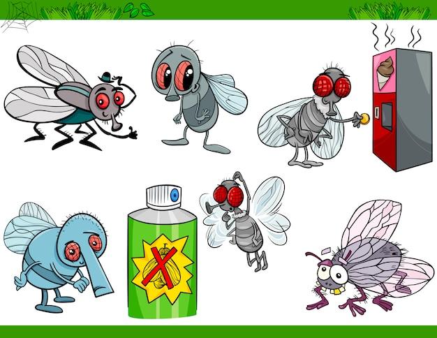 Moscas divertidas establecen ilustración de dibujos animados
