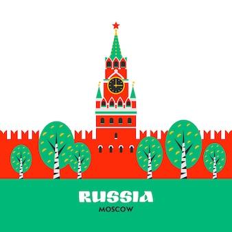 Moscú kremlin spasskaya torre del kremlin en la plaza roja en moscú rusia