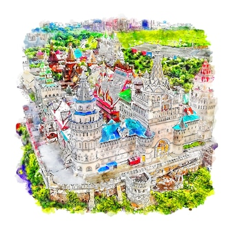 Moscú rusia acuarela dibujo dibujado a mano ilustración