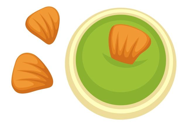 Mostaza asiática picante, parte de la cocina oriental tradicional. icono aislado de patatas fritas crujientes sumergidas en salsa de wasabi. platos japoneses y chinos, snack para bares y menú para comensales. vector en estilo plano