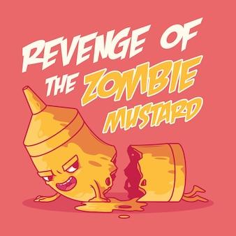 Mostaza zombie. fiesta, comida, comida rápida, concepto de diseño de monstruo