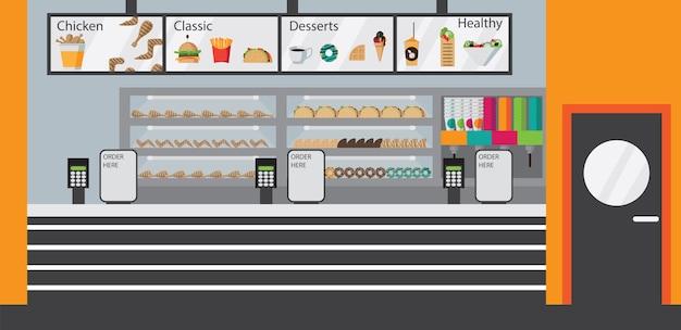 Mostrador de cafetería de comida rápida plana