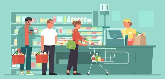Mostrador de caja de un supermercado de abarrotes clientes en cola en la tienda