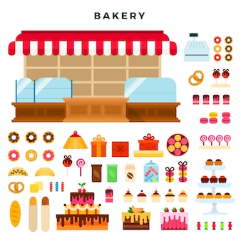 Mostrador de confitería y productos de panadería