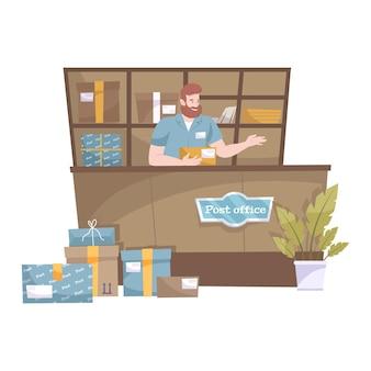 Mostrador de la oficina de correos con trabajador masculino y paquetes en estantes ilustración plana