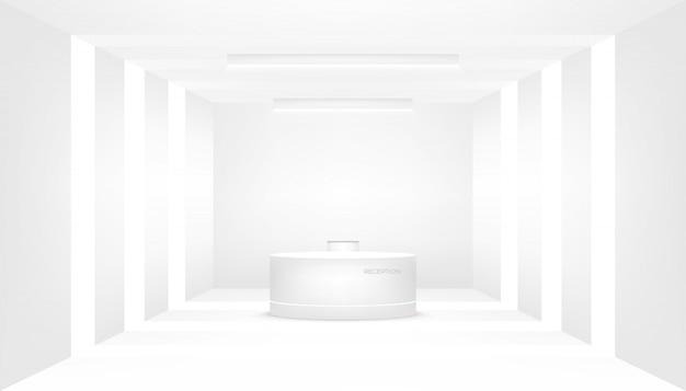 Mostrador de recepción y decoración interior.