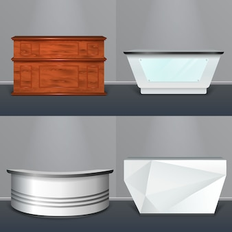 Mostrador de recepción diseño realista moderno