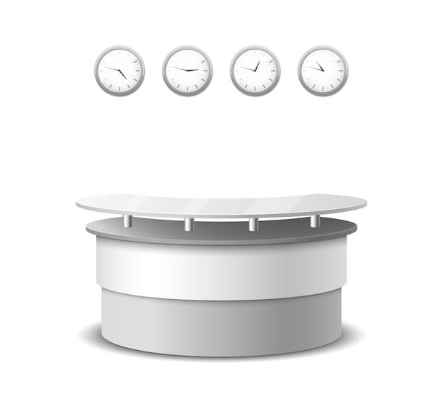 Mostrador de recepción realista de vector. diseño de interiores y mobiliario, mesa en hall, mostrador hotel