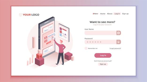 Mostrando cómo un usuario intenta completar un formulario de inicio de sesión. diseño interactivo de plantilla de formulario de inicio de sesión.