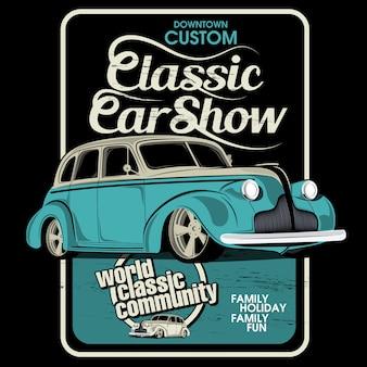 Mostrar coches clásicos, ilustraciones vectoriales de coches.
