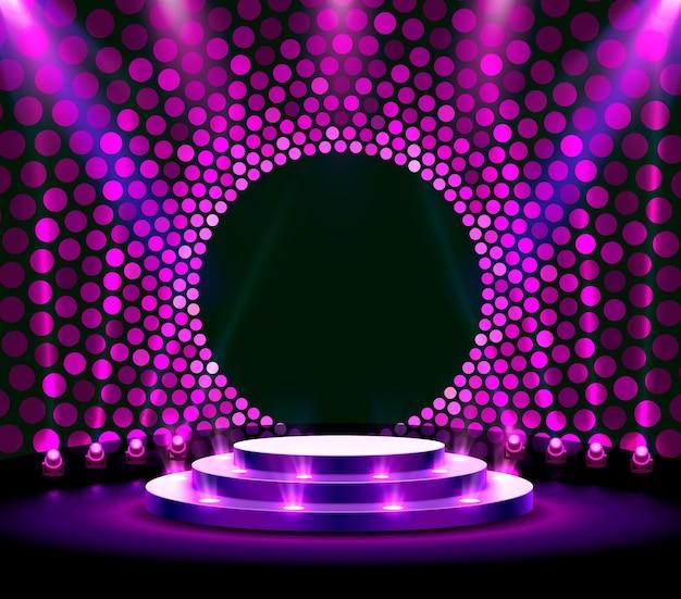 Mostrar fondo de estrellas de podio ligero. ilustración vectorial