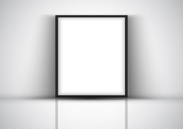 Mostrar fondo con marco en blanco contra una pared