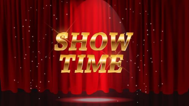 Mostrar fondo de tiempo con cortinas rojas. ilustración