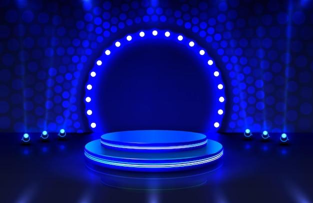Mostrar la luz, el escenario del podio con la ceremonia de entrega de premios sobre fondo azul.