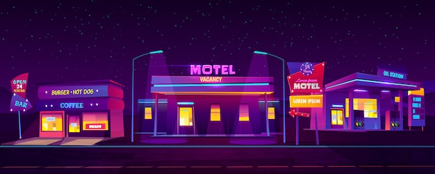 Motel en la carretera con estacionamiento para automóviles, café en la estación de aceite y café de hamburguesas que brilla en la noche