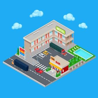 Motel isométrico con zona de estacionamiento, bar y piscina. modern road hotel. ilustración vectorial