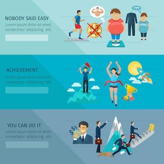 Motivación banner conjunto horizontal con logros y elementos de recompensa.