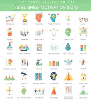 Motivación empresarial disciplina plana iconos conjunto