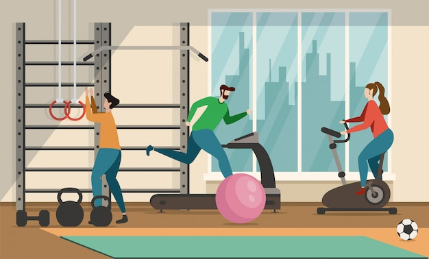 Motivación de personas y deportes plana de dibujos animados banner