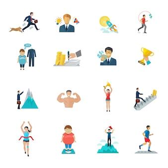 Motivación en el trabajo de oficina y deporte iconos conjunto plana