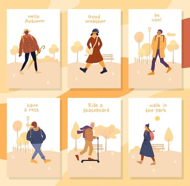 Motivar a las personas a caminar durante el juego de cartas de otoño