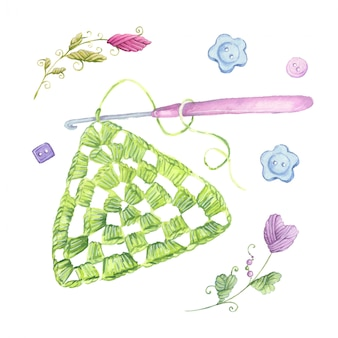 Motivo de crochet de dibujos animados de acuarela y accesorios de tejer.