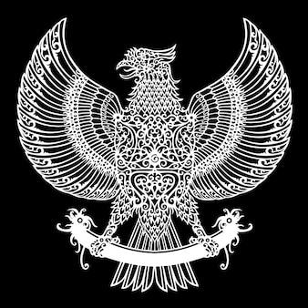 Motivo tribal del tatuaje del águila dayak indonesia