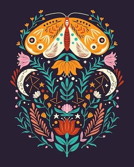 Motivos de primavera en estilo de arte popular. plano colorido con polilla, flores, elementos florales y luna.