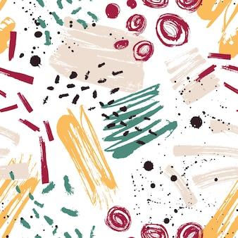 Motley de patrones sin fisuras con manchas de pintura, marcas, rastros, garabatos en blanco.