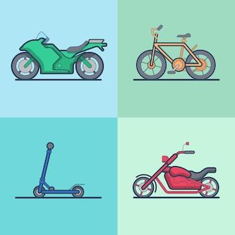 Moto bicicleta patinete scooter chopper conjunto de transporte