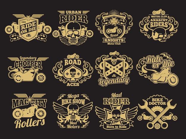 Moto club vintage parches en negro. marcas y emblemas de carreras de motos.