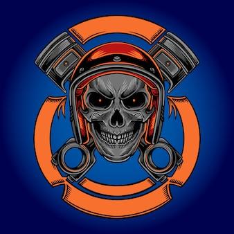 Moto jinete cráneo vintage vector