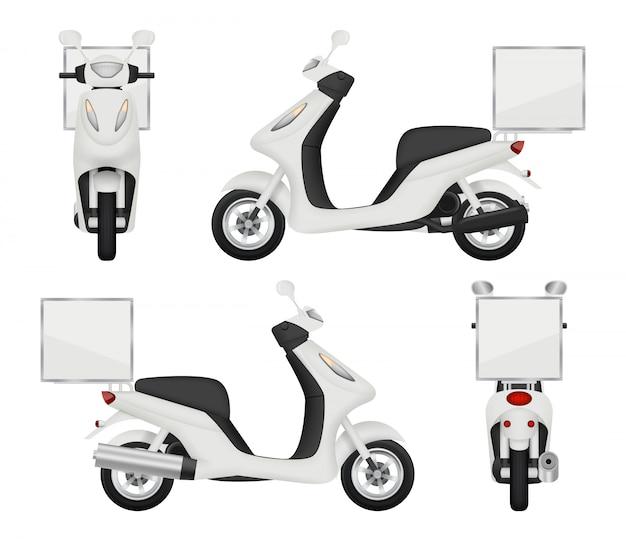 Moto moto realista. vistas del scooter para el servicio de entrega, parte superior automática, transporte posterior 3d aislado
