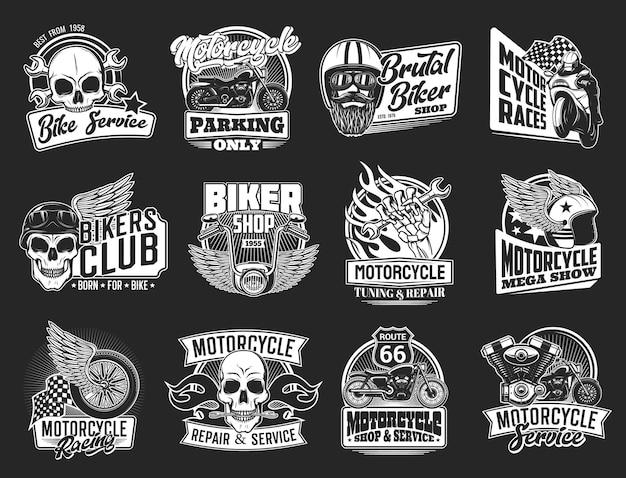 Motocicleta aislada club de motociclistas y diseño de automovilismo. motos con ala, rueda y calavera, piloto, casco, bandera de carreras, llave inglesa, motor, pistón y emblemas de llama de fuego