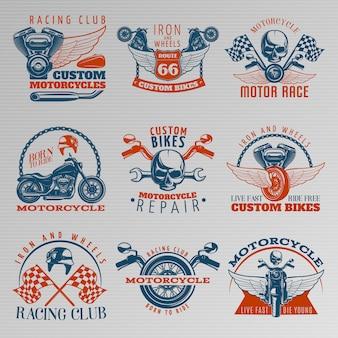 Motocicleta en conjunto de emblemas de color con descripciones de las motos personalizadas del club de carreras carrera de motor nacida para montar y una ilustración vectorial diferente