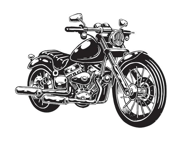 De motocicleta dibujada a mano aislada sobre fondo blanco. estilo monocromático.