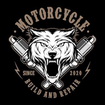 Motocicleta lobo con bujías ilustración