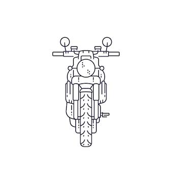 Motocicleta, moto retro en blanco, ilustración vectorial de línea