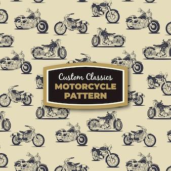 Motocicletas retro vector dibujos patrón transparente