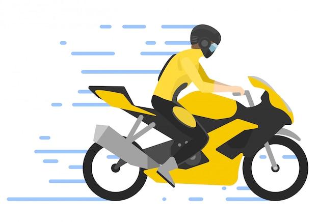 Motociclista en moto, ilustración. motociclista carrera de motocross.
