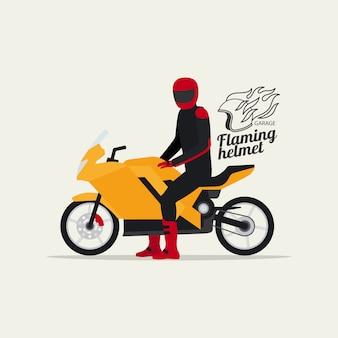 Motociclista con moto y logo.