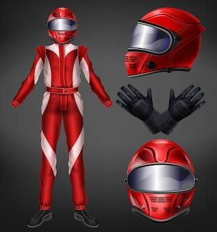 Motociclista o piloto de autos, equipo de carreras, traje de piloto, uniforme protector con casco integral, guantes negros, botas y rojo, mono de una pieza realista ilustración vectorial aislada sobre fondo negro