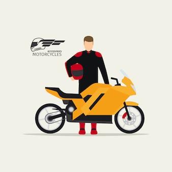 Motociclista de pie con moto