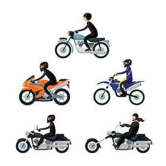 Motociclistas, conjunto de motociclistas, use ropa deportiva protectora