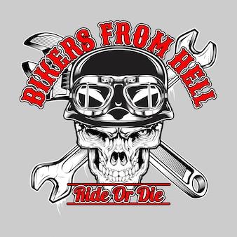 Motociclistas del cráneo del infierno.