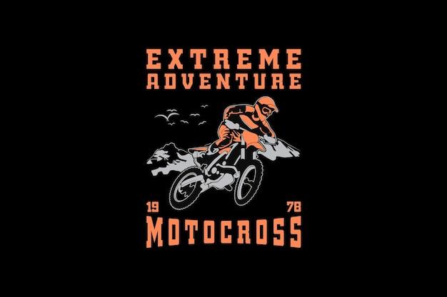.motocross de aventura extrema, estilo retro de silueta de diseño.