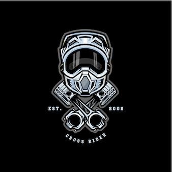 Motocross cross rider badge logo