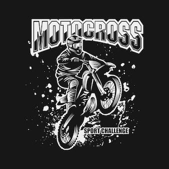 Motocross deporte desafío vector illustration