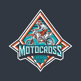 Motocross extreme club premium vintage insignia plantilla de diseño de logotipo
